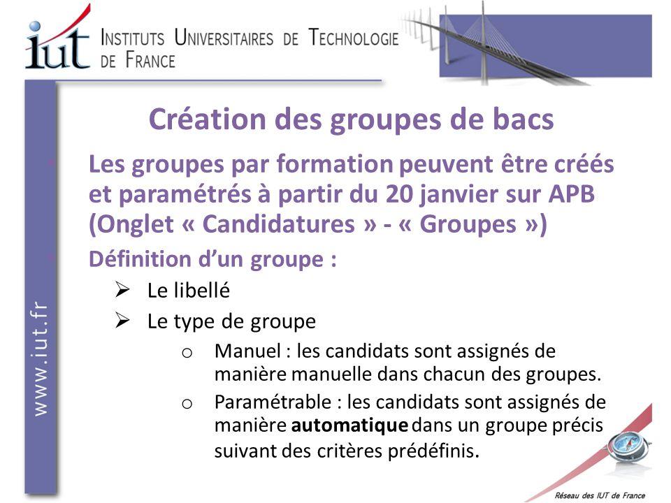 Création des groupes de bacs Les groupes par formation peuvent être créés et paramétrés à partir du 20 janvier sur APB (Onglet « Candidatures » - « Gr