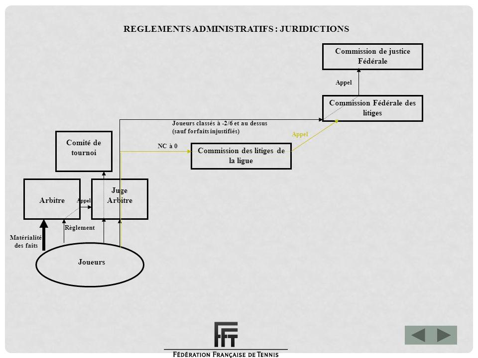 Matérialité des faits Commission de justice Fédérale Commission Fédérale des litiges Commission des litiges de la ligue Joueurs Arbitre Juge Arbitre C