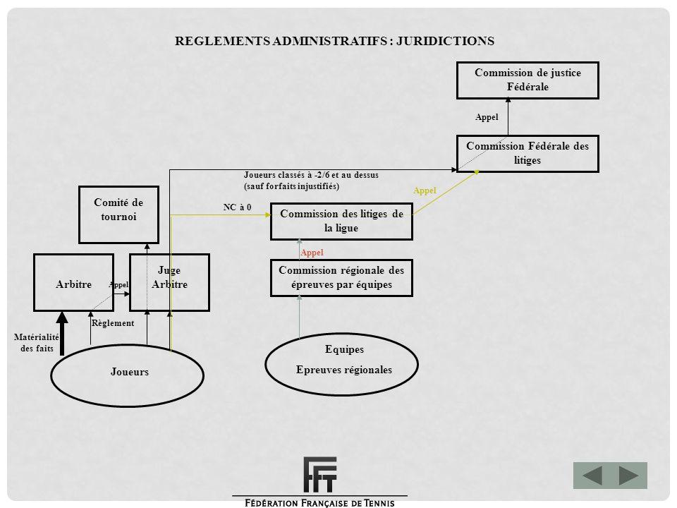 Matérialité des faits Commission de justice Fédérale Commission Fédérale des litiges Commission des litiges de la ligue Commission régionale des épreu