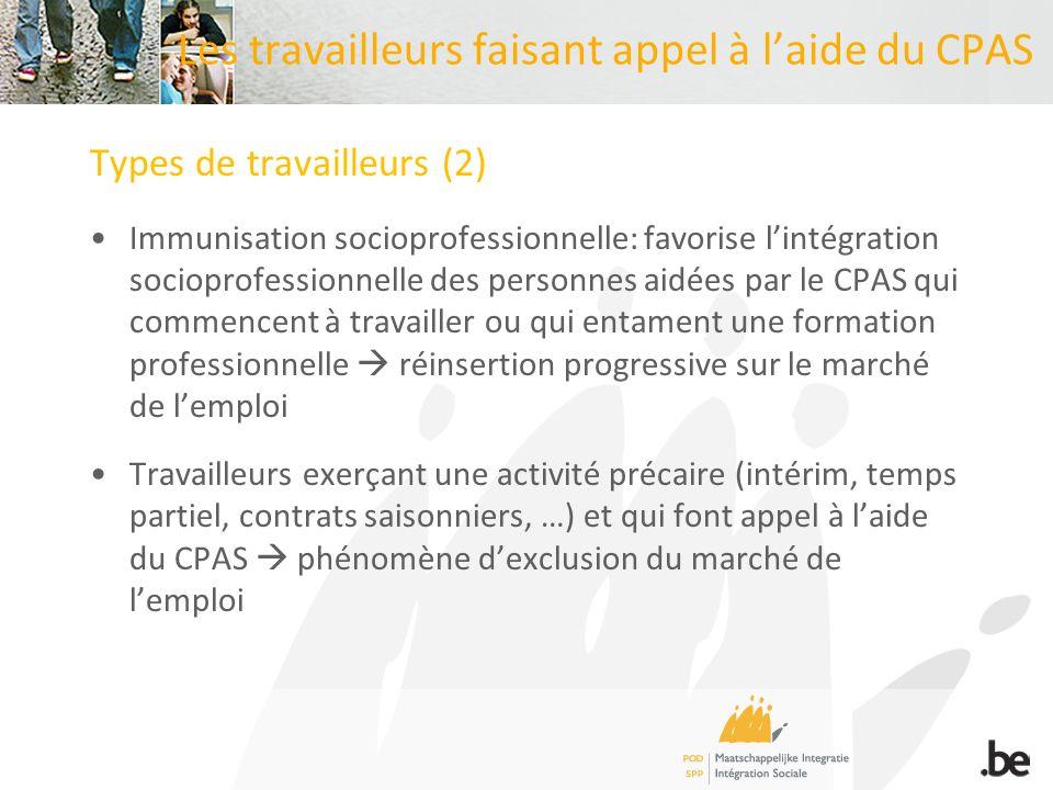 Les travailleurs faisant appel à laide du CPAS Types de travailleurs (2) Immunisation socioprofessionnelle: favorise lintégration socioprofessionnelle