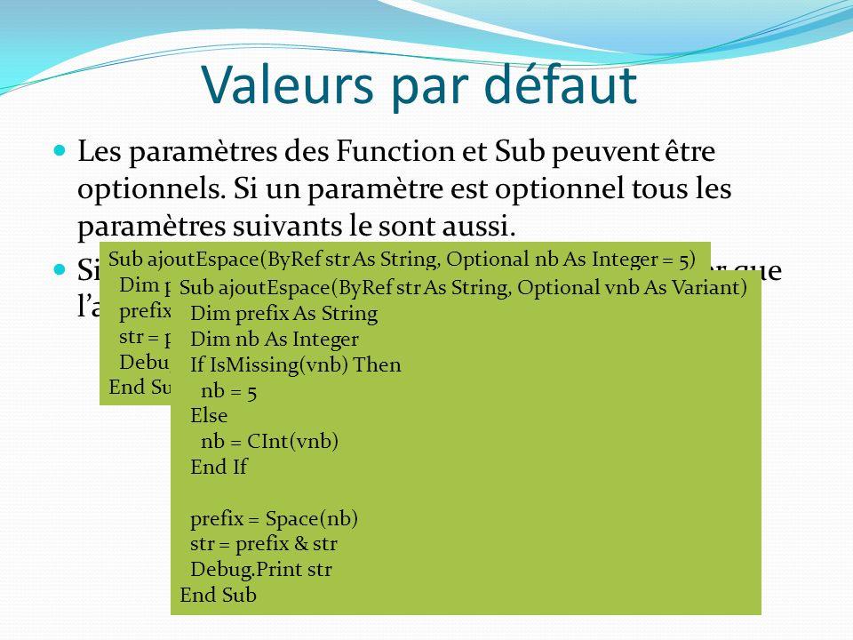 Valeurs par défaut Les paramètres des Function et Sub peuvent être optionnels. Si un paramètre est optionnel tous les paramètres suivants le sont auss