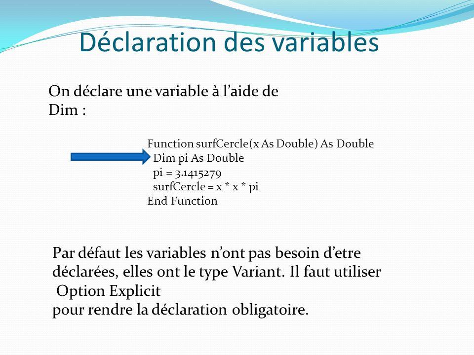 Déclaration des variables On déclare une variable à laide de Dim : Function surfCercle(x As Double) As Double Dim pi As Double pi = 3.1415279 surfCerc