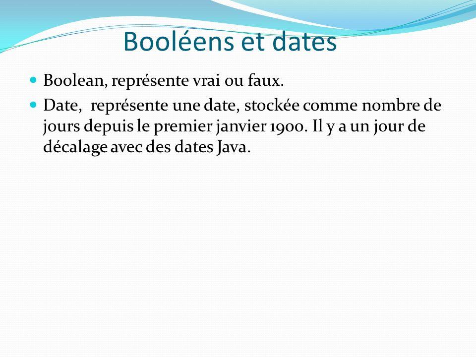 Booléens et dates Boolean, représente vrai ou faux. Date, représente une date, stockée comme nombre de jours depuis le premier janvier 1900. Il y a un