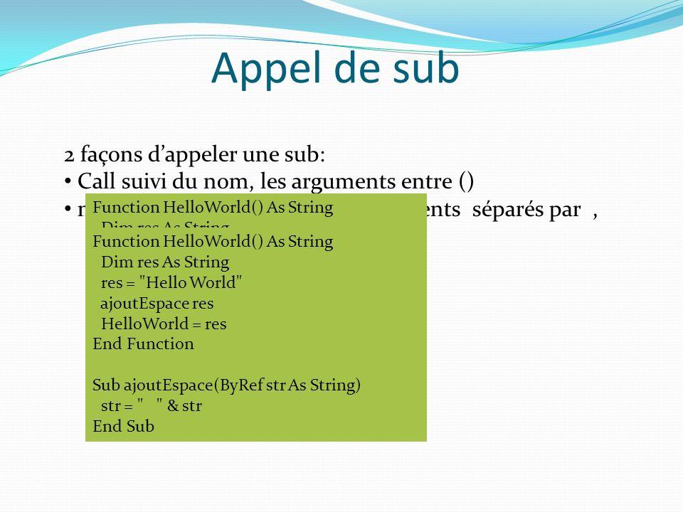 Appel de sub 2 façons dappeler une sub: Call suivi du nom, les arguments entre () nom du Sub (sans Call) avec arguments séparés par, Function HelloWor