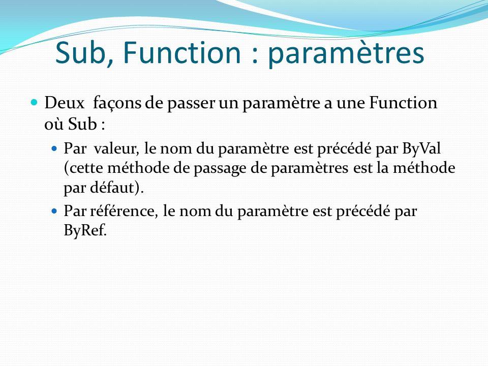 Sub, Function : paramètres Deux façons de passer un paramètre a une Function où Sub : Par valeur, le nom du paramètre est précédé par ByVal (cette mét