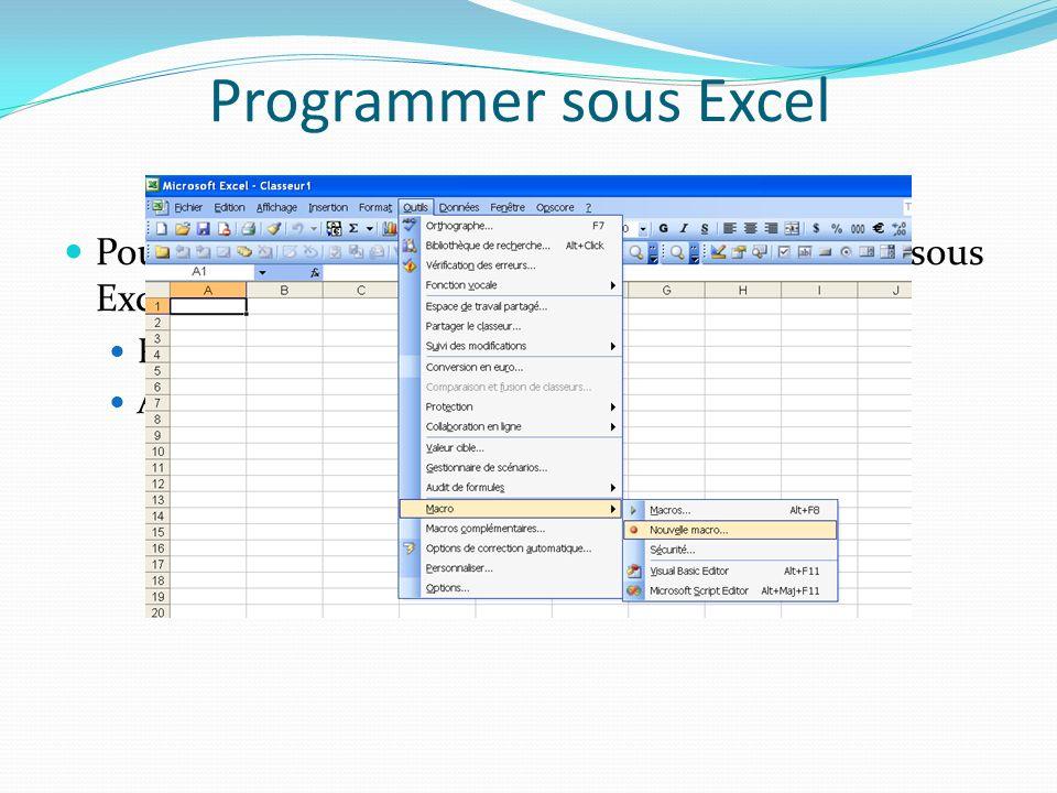 Erreurs (exemple) Sub ajoutEspace(ByRef str As String, Optional vnb As Variant) Dim prefix As String Dim nb As Integer On Error GoTo err_label If IsMissing(vnb) Then nb = 5 Else nb = CInt(vnb) End If prefix = Space(nb) str = prefix & str Exit Sub err_label: MsgBox Err.Description End Sub Modification du traitement des erreurs.