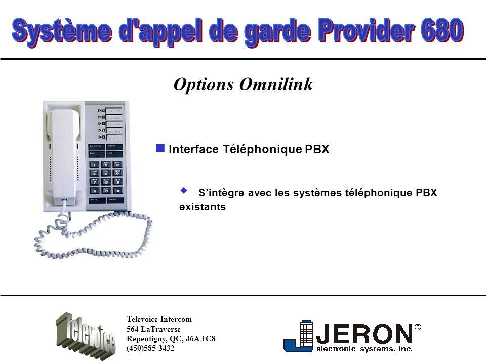 Options Omnilink Sintègre avec les systèmes téléphonique PBX existants Interface Téléphonique PBX Televoice Intercom 564 LaTraverse Repentigny, QC, J6A 1C8 (450)585-3432