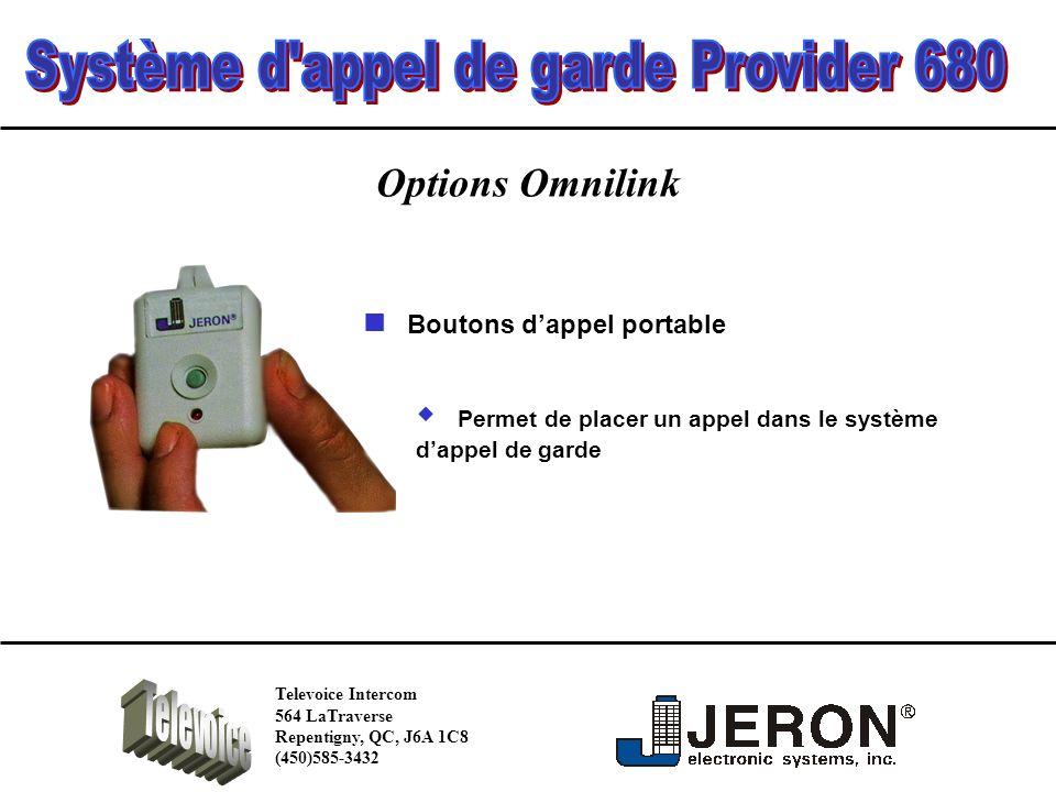Options Omnilink Permet de placer un appel dans le système dappel de garde Boutons dappel portable Televoice Intercom 564 LaTraverse Repentigny, QC, J6A 1C8 (450)585-3432