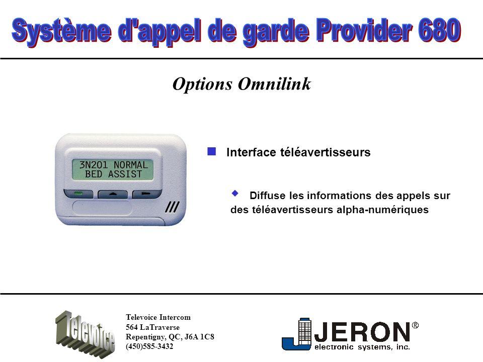 Options Omnilink Diffuse les informations des appels sur des téléavertisseurs alpha-numériques Interface téléavertisseurs Televoice Intercom 564 LaTraverse Repentigny, QC, J6A 1C8 (450)585-3432