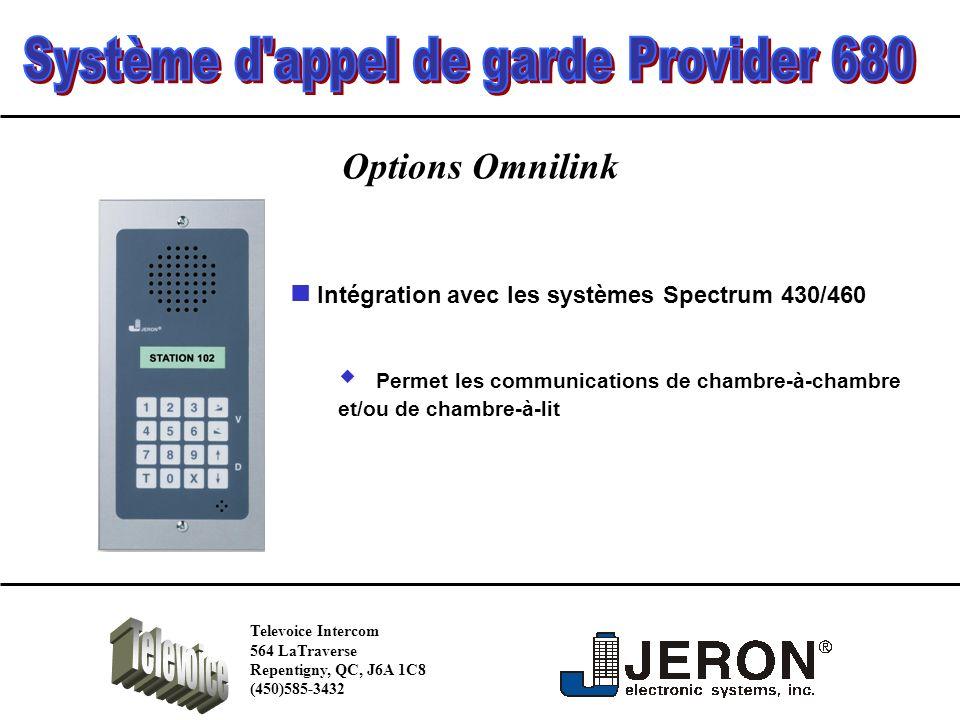 Options Omnilink Permet les communications de chambre-à-chambre et/ou de chambre-à-lit Intégration avec les systèmes Spectrum 430/460 Televoice Intercom 564 LaTraverse Repentigny, QC, J6A 1C8 (450)585-3432