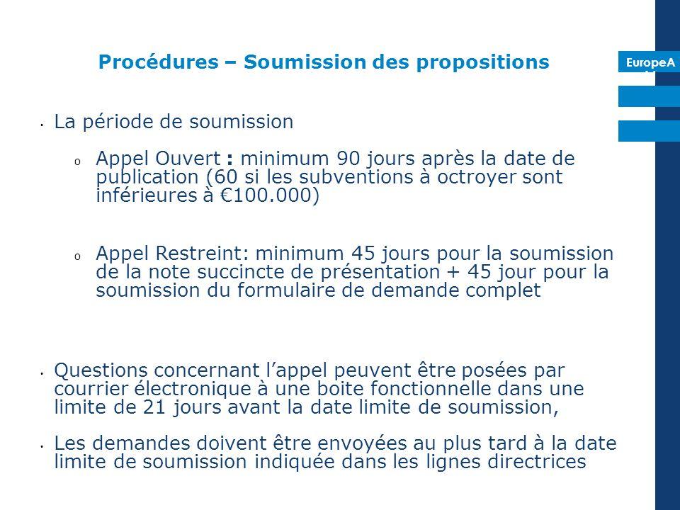 EuropeA id Procédures – Soumission des propositions La période de soumission o Appel Ouvert : minimum 90 jours après la date de publication (60 si les