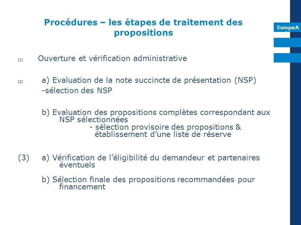 EuropeA id Procédures – les étapes de traitement des propositions (1) Ouverture et vérification administrative (2) a) Evaluation de la note succincte