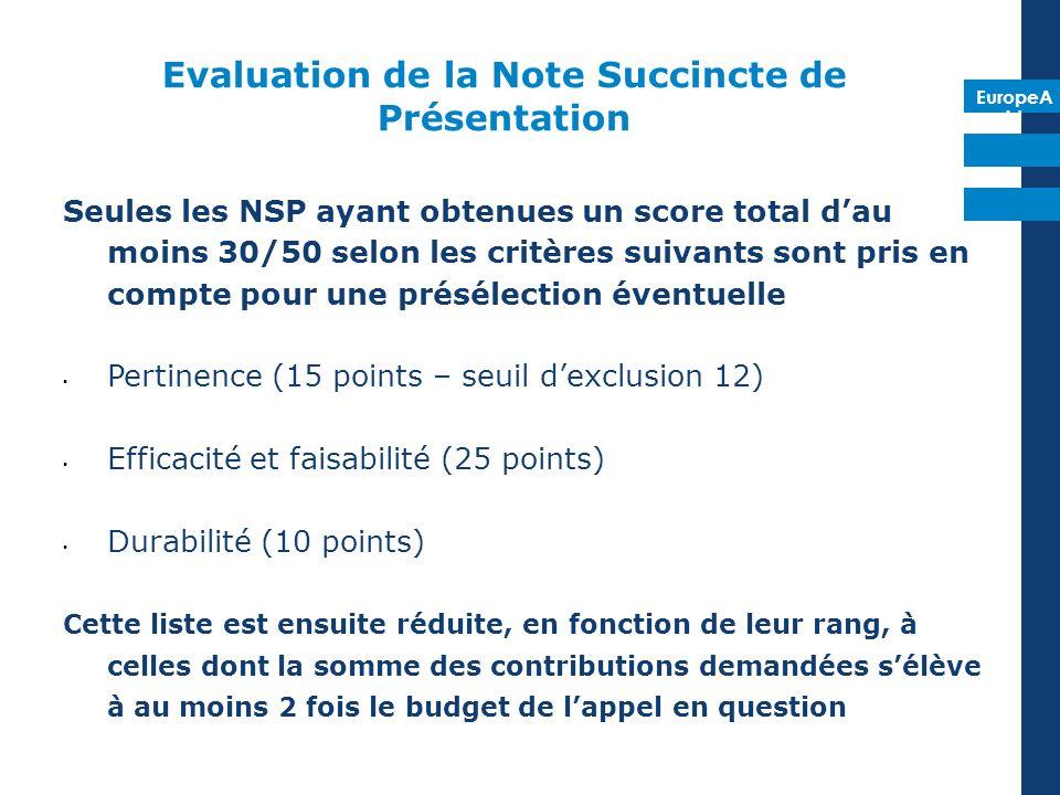 EuropeA id Evaluation de la Note Succincte de Présentation Seules les NSP ayant obtenues un score total dau moins 30/50 selon les critères suivants sont pris en compte pour une présélection éventuelle Pertinence (15 points – seuil dexclusion 12) Efficacité et faisabilité (25 points) Durabilité (10 points) Cette liste est ensuite réduite, en fonction de leur rang, à celles dont la somme des contributions demandées sélève à au moins 2 fois le budget de lappel en question