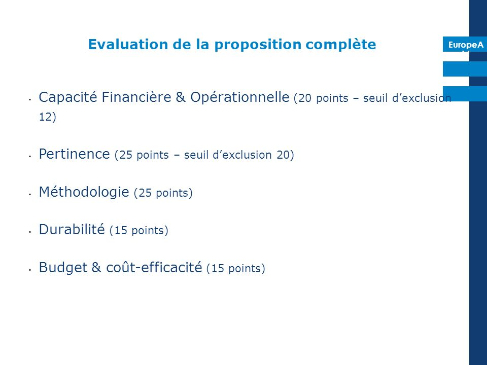 EuropeA id Evaluation de la proposition complète Capacité Financière & Opérationnelle (20 points – seuil dexclusion 12) Pertinence (25 points – seuil dexclusion 20) Méthodologie (25 points) Durabilité (15 points) Budget & coût-efficacité (15 points)
