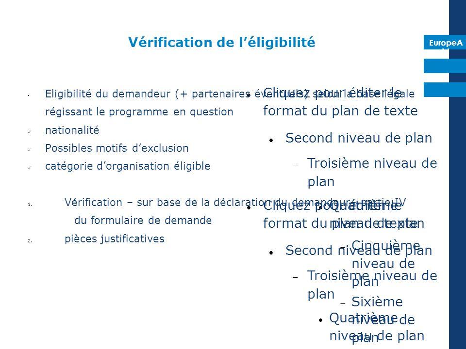 EuropeA id Cliquez pour éditer le format du plan de texte Second niveau de plan Troisième niveau de plan Quatrième niveau de plan Cinquième niveau de