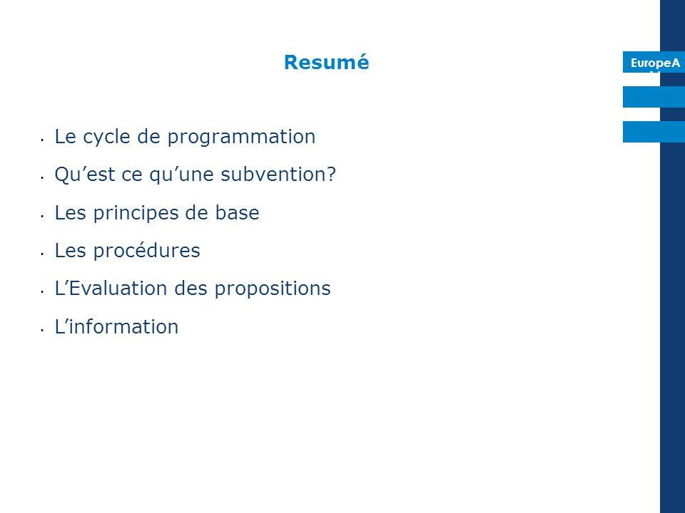 EuropeA id Resumé Le cycle de programmation Quest ce quune subvention? Les principes de base Les procédures LEvaluation des propositions Linformation