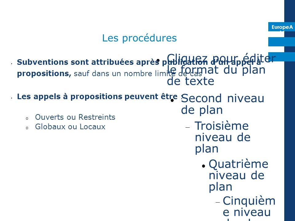 EuropeA id Cliquez pour éditer le format du plan de texte Second niveau de plan Troisième niveau de plan Quatrième niveau de plan Cinquièm e niveau de