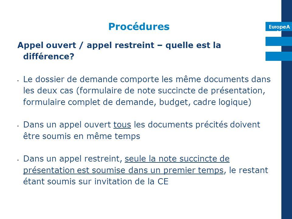 EuropeA id Procédures Appel ouvert / appel restreint – quelle est la différence? Le dossier de demande comporte les même documents dans les deux cas (