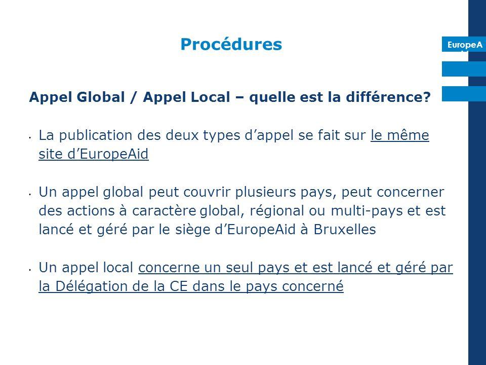 EuropeA id Procédures Appel Global / Appel Local – quelle est la différence? La publication des deux types dappel se fait sur le même site dEuropeAid