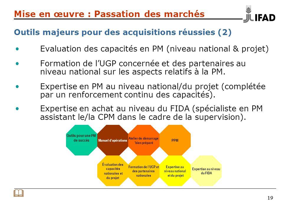 19 Evaluation des capacités en PM (niveau national & projet) Formation de lUGP concernée et des partenaires au niveau national sur les aspects relatifs à la PM.