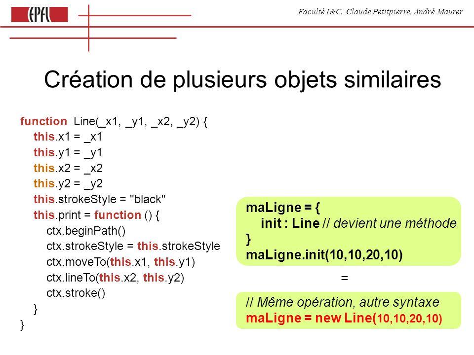 Faculté I&C, Claude Petitpierre, André Maurer Création de plusieurs objets similaires function Line(_x1, _y1, _x2, _y2) { this.x1 = _x1 this.y1 = _y1 this.x2 = _x2 this.y2 = _y2 this.strokeStyle = black this.print = function () { ctx.beginPath() ctx.strokeStyle = this.strokeStyle ctx.moveTo(this.x1, this.y1) ctx.lineTo(this.x2, this.y2) ctx.stroke() } } maLigne = { init : Line // devient une méthode } maLigne.init(10,10,20,10) = // Même opération, autre syntaxe maLigne = new Line( 10,10,20,10)