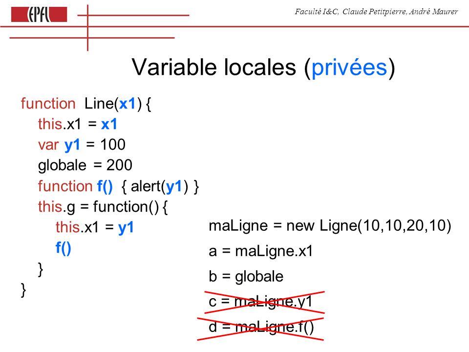 Faculté I&C, Claude Petitpierre, André Maurer Variable locales (privées) function Line(x1) { this.x1 = x1 var y1 = 100 globale = 200 function f() { al