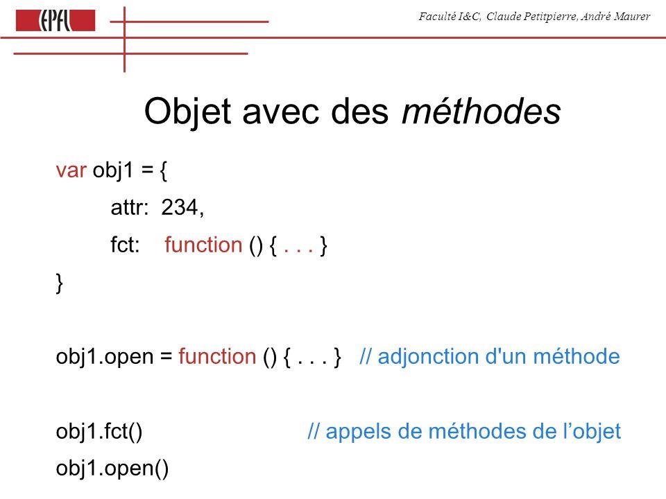 Faculté I&C, Claude Petitpierre, André Maurer Objet avec des méthodes var obj1 = { attr: 234, fct: function () {...