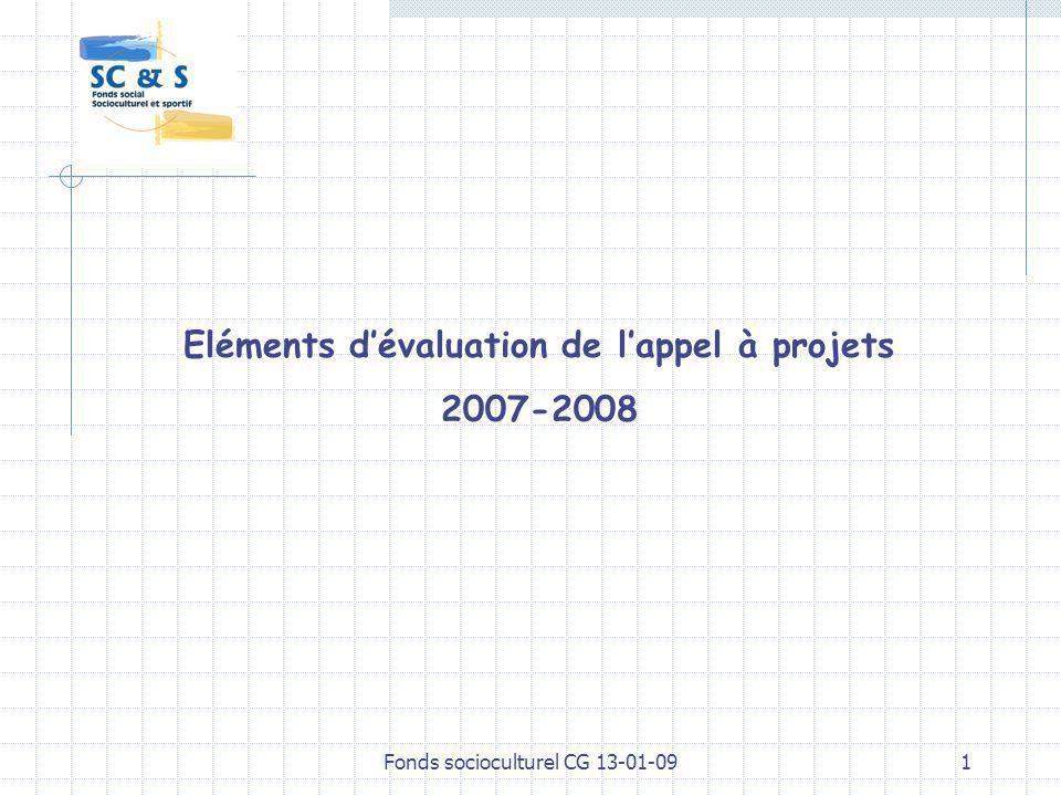 Fonds socioculturel CG 13-01-091 Eléments dévaluation de lappel à projets 2007-2008
