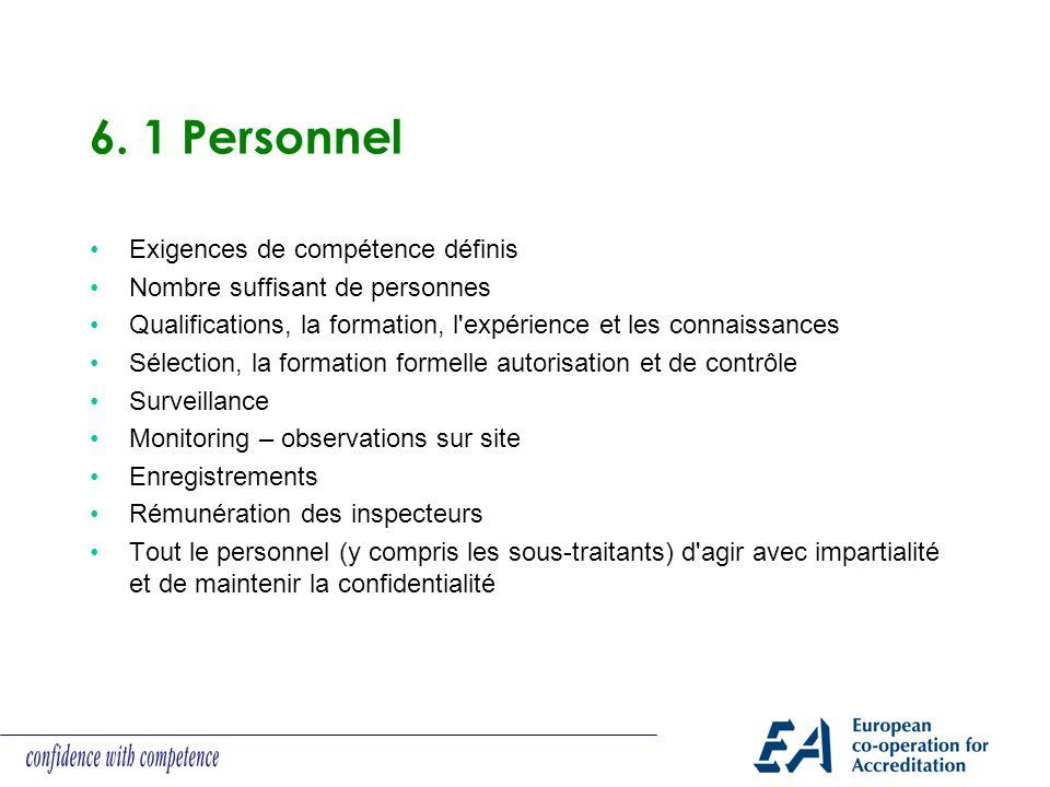 6. 1 Personnel Exigences de compétence définis Nombre suffisant de personnes Qualifications, la formation, l'expérience et les connaissances Sélection