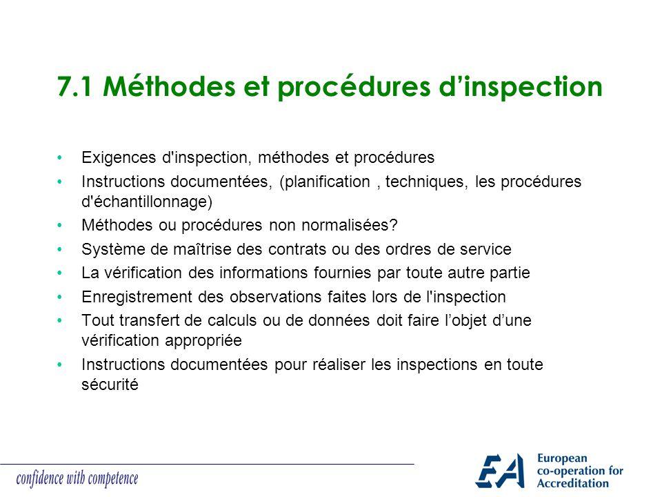 7.1 Méthodes et procédures dinspection Exigences d'inspection, méthodes et procédures Instructions documentées, (planification, techniques, les procéd