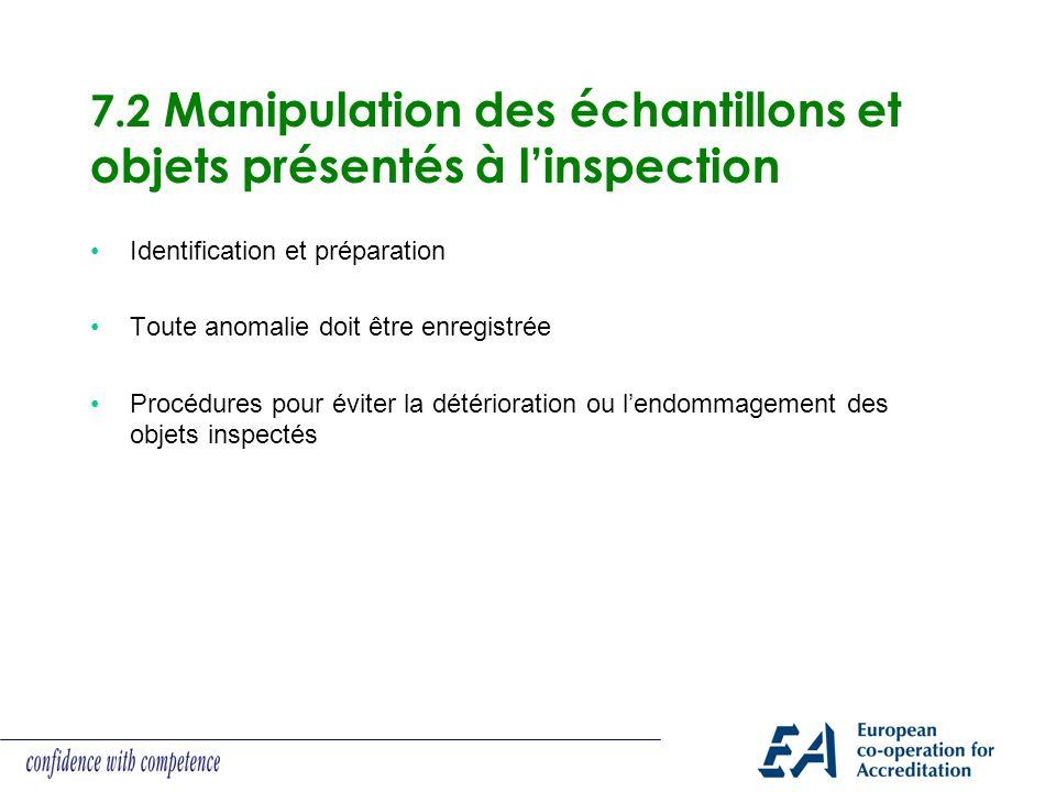 7.2 Manipulation des échantillons et objets présentés à linspection Identification et préparation Toute anomalie doit être enregistrée Procédures pour