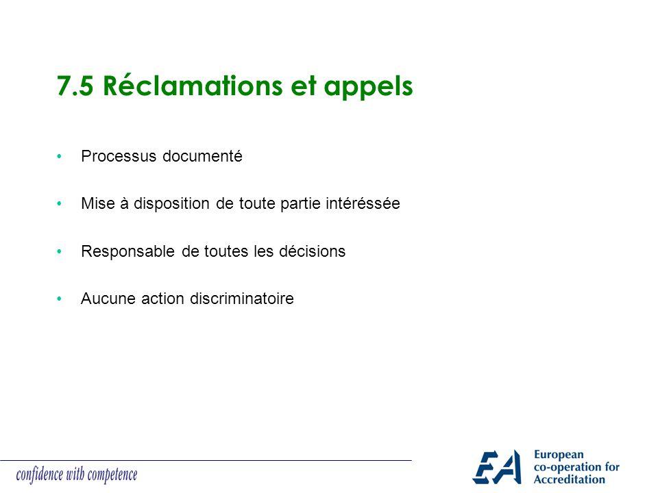 7.5 Réclamations et appels Processus documenté Mise à disposition de toute partie intéréssée Responsable de toutes les décisions Aucune action discrim