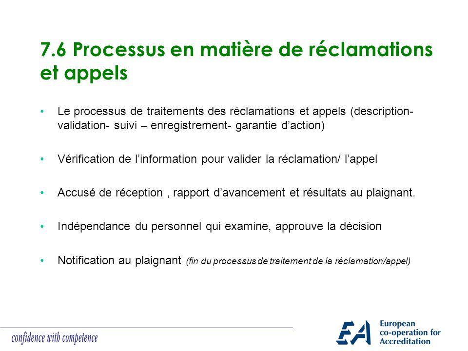 7.6 Processus en matière de réclamations et appels Le processus de traitements des réclamations et appels (description- validation- suivi – enregistre