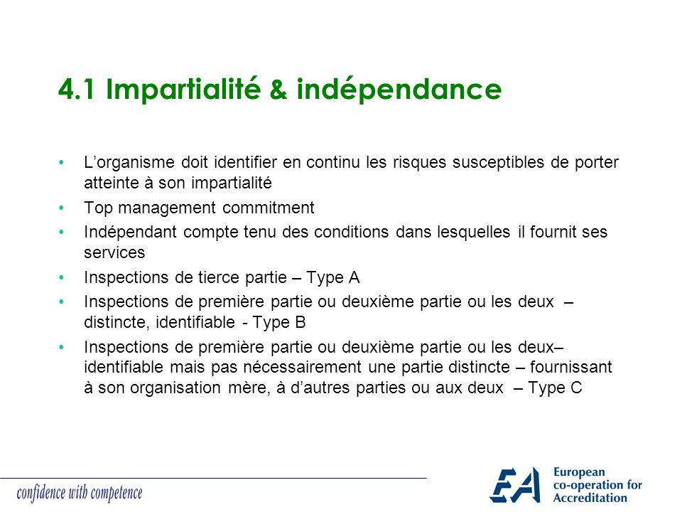 4.1 Impartialité & indépendance Lorganisme doit identifier en continu les risques susceptibles de porter atteinte à son impartialité Top management co