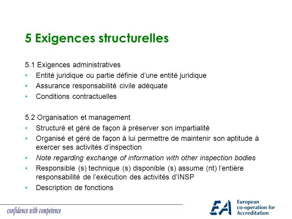 5 Exigences structurelles 5.1 Exigences administratives Entité juridique ou partie définie dune entité juridique Assurance responsabilité civile adéqu