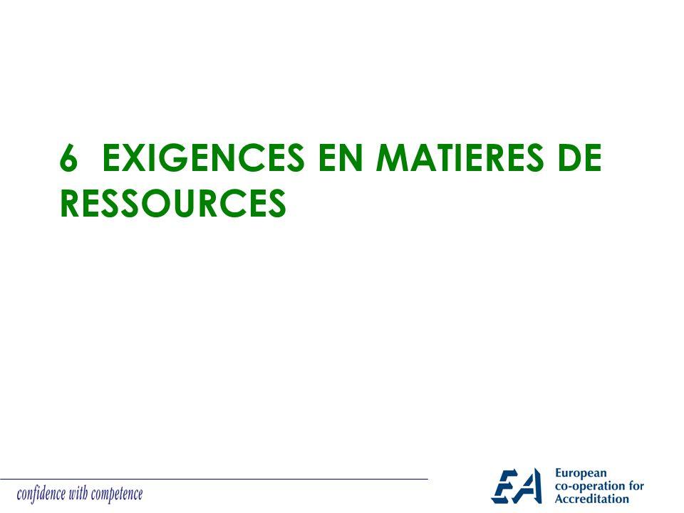 6 EXIGENCES EN MATIERES DE RESSOURCES