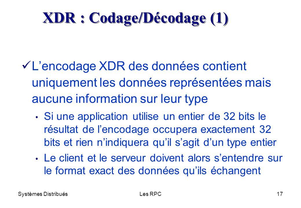 Systèmes DistribuésLes RPC17 Lencodage XDR des données contient uniquement les données représentées mais aucune information sur leur type Si une appli