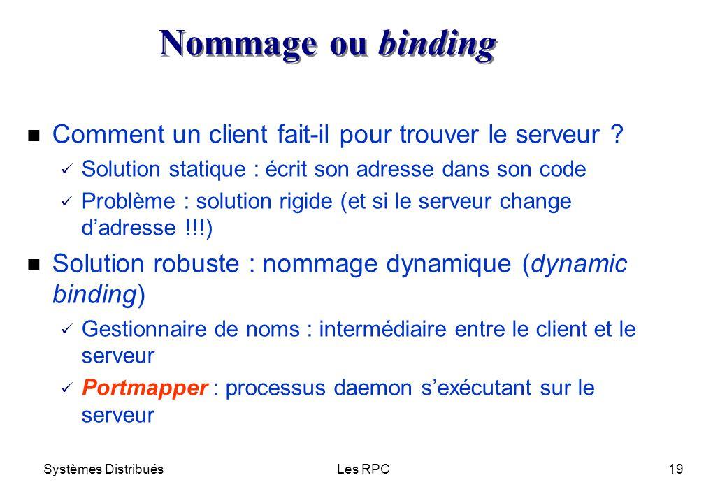 Systèmes DistribuésLes RPC19 n Comment un client fait-il pour trouver le serveur ? ü Solution statique : écrit son adresse dans son code ü Problème :