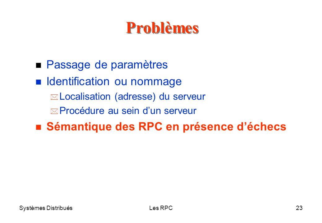 Systèmes DistribuésLes RPC23 n Passage de paramètres n Identification ou nommage * Localisation (adresse) du serveur * Procédure au sein dun serveur n
