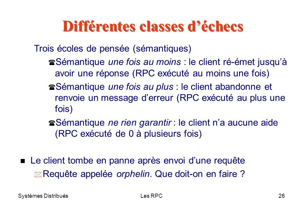 Systèmes DistribuésLes RPC26 Trois écoles de pensée (sémantiques) ( Sémantique une fois au moins : le client ré-émet jusquà avoir une réponse (RPC exé