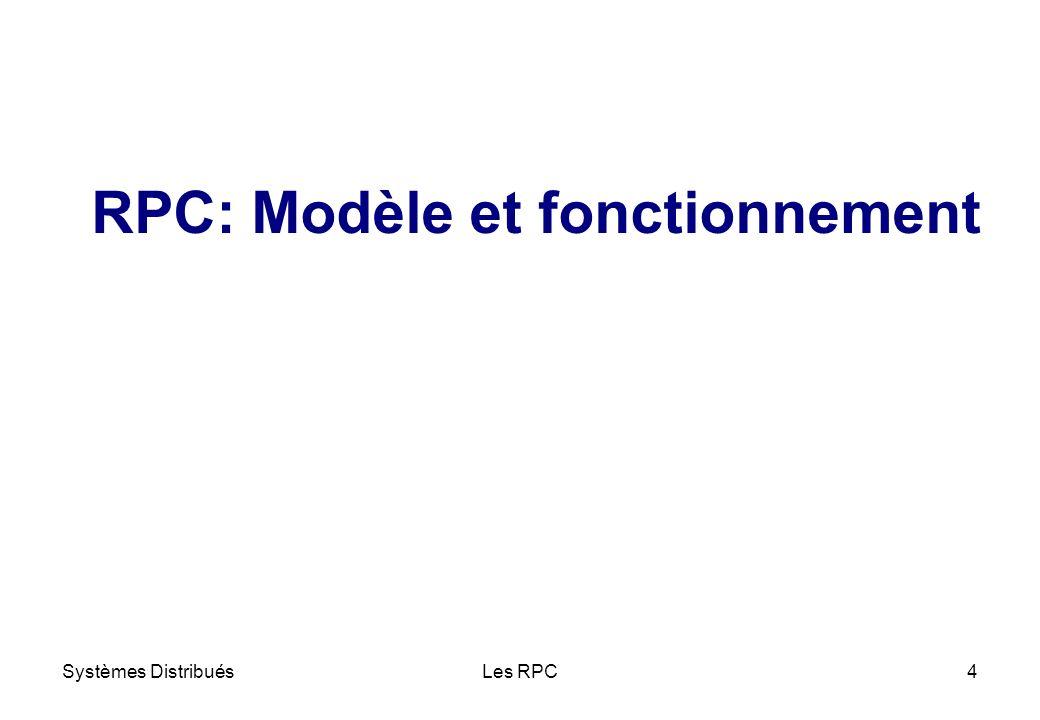 Systèmes DistribuésLes RPC15 ü Deux solutions possibles Codage/décodage de chaque type de donnée de toute architecture à toute autre architecture Format universel intermédiaire (XDR, CDR, etc.) ü Solution de Sun Microsystems Format eXternal Data Representation ou XDR Librairie XDR (types de données XDR + primitives de codage/décodage pour chaque type) rpc/xdr.h Problème dhétérogénéité