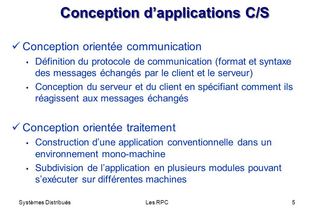 Systèmes DistribuésLes RPC5 Conception dapplications C/S Conception orientée communication Définition du protocole de communication (format et syntaxe