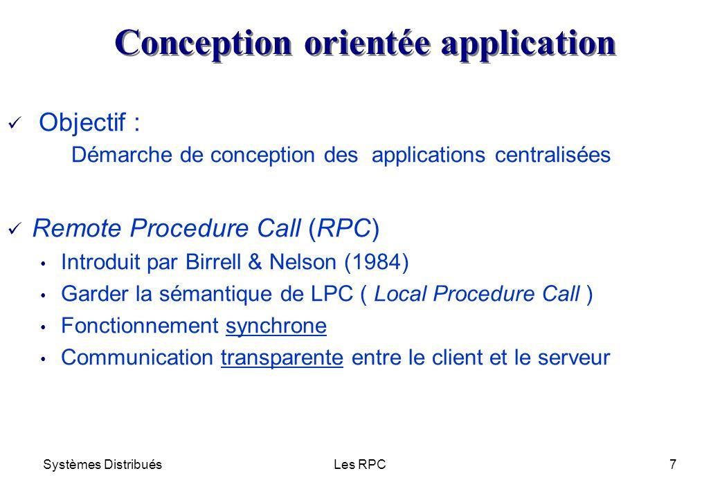 Systèmes DistribuésLes RPC8 procA() return procB() return Machine 1 Machine 2Machine 3 réseau Programme principal Procédure A (serveur) Procédure B (serveur) RPC : principe