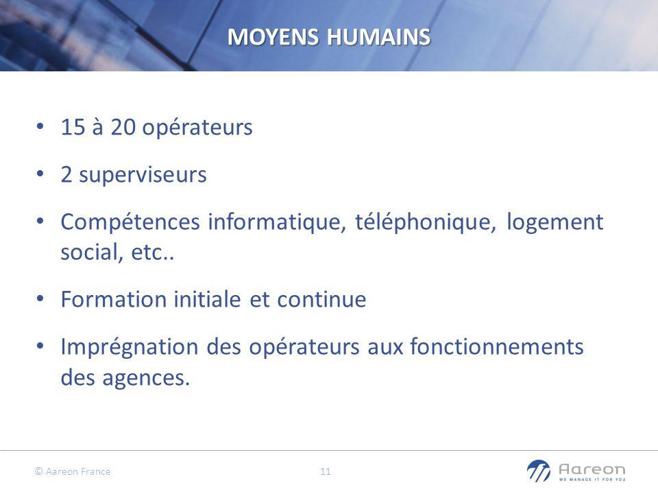 © Aareon France 11 MOYENS HUMAINS 15 à 20 opérateurs 2 superviseurs Compétences informatique, téléphonique, logement social, etc.. Formation initiale