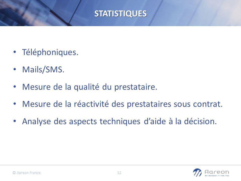 © Aareon France 12STATISTIQUES Téléphoniques. Mails/SMS. Mesure de la qualité du prestataire. Mesure de la réactivité des prestataires sous contrat. A