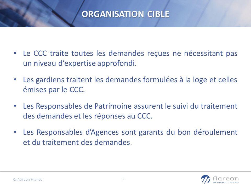© Aareon France 7 ORGANISATION CIBLE Le CCC traite toutes les demandes reçues ne nécessitant pas un niveau dexpertise approfondi. Les gardiens traiten
