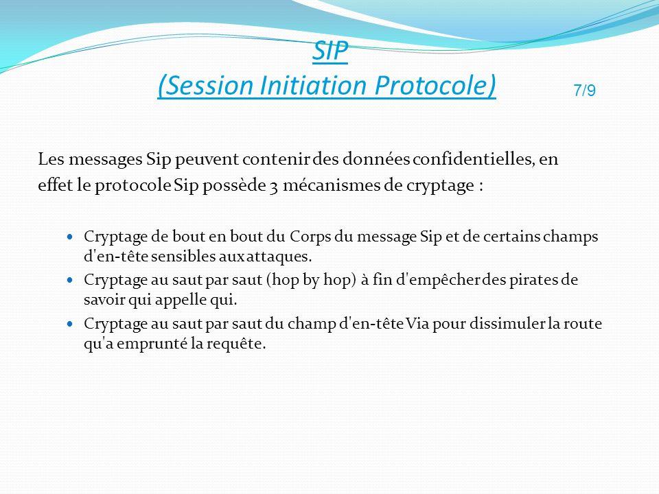 Les messages Sip peuvent contenir des données confidentielles, en effet le protocole Sip possède 3 mécanismes de cryptage : Cryptage de bout en bout d