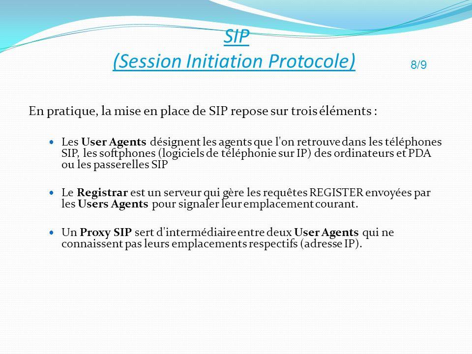 En pratique, la mise en place de SIP repose sur trois éléments : Les User Agents désignent les agents que l'on retrouve dans les téléphones SIP, les s