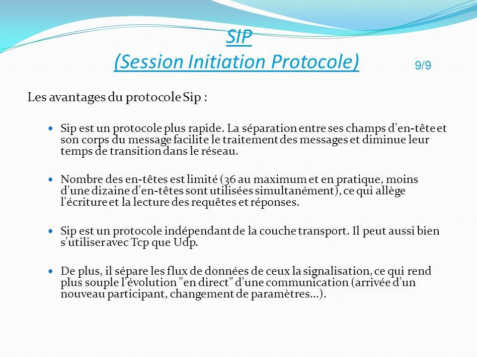 Les avantages du protocole Sip : Sip est un protocole plus rapide. La séparation entre ses champs d'en-tête et son corps du message facilite le traite