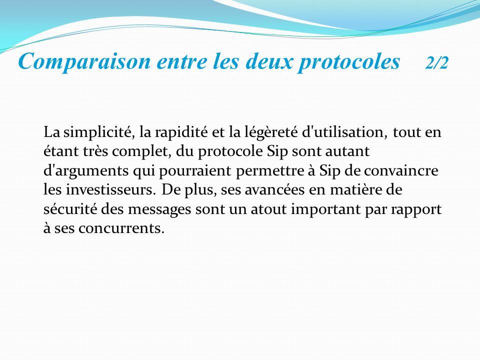 Comparaison entre les deux protocoles 2/2 La simplicité, la rapidité et la légèreté d'utilisation, tout en étant très complet, du protocole Sip sont a